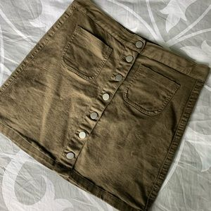 Olive Green Button Up Brandy Melville Skirt